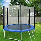 Pollyhb Trampoline Set 8 Ft for Kids, Child Outdoor Indoor Trampoline with Enclosure Backboard Net and Safety Cover Pad Bungee Jumping Mat Spring Pull Backyard