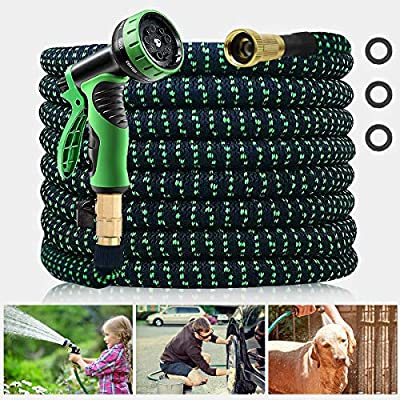"""Expandable Garden Hose,GHodec Lightweight Water Hose with 10 Function Nozzle, Leak-proof 3-Layers Latex & Durable 3750D Fabric , with 3/4"""" Solid Brass Fittings"""