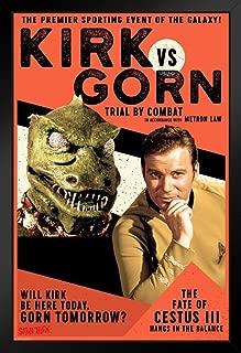 Pyramid America Star Trek Kirk vs Gorn Trial by Combat Fight Black Wood Framed Poster 14x20