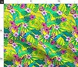 Spoonflower Stoff – Strand gelbe tropische Blumen Blumen