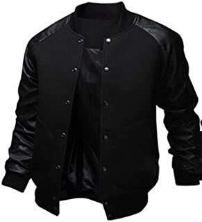 Baseball Jacket Men Black Pu Leather Sleeve Slim Fit Varsity Jacket Veste Homme