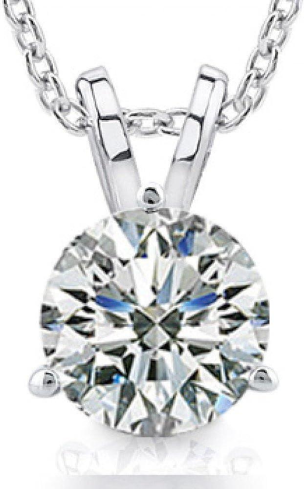 Madina Jewelry 0.44 Ct Ladies Round Cut Diamond Soitaire Pendant/Necklace