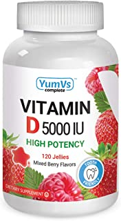 Vitamin D3 Jellies by YumV's | Vitamin D 5000 IU | Daily Dietary Supplement for Men and Women | Mixed Berry Flavor Chewabl...