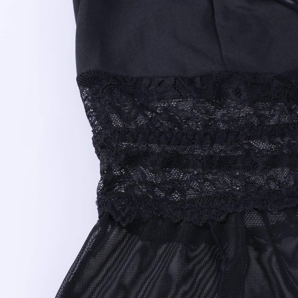XAKALAKA Women's Plus Size Lingerie Babydoll Front Slit Lace Mesh Chemise Sleepwear