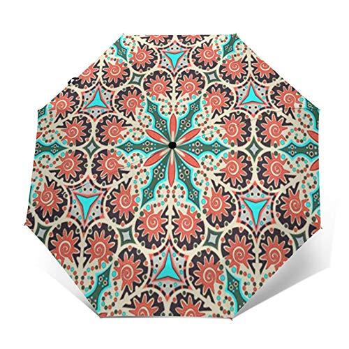 Paraguas Plegable Automático Impermeable Alfombra Caleidoscopio Arabesco, Paraguas De Viaje Compacto a Prueba De Viento, Folding Umbrella, Dosel Reforzado, Mango Ergonómico