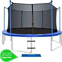 ORCC New Upgrade 15 14 12 10 FT Trampoline with Safety Enclosure Net Wind Stakes Rain Cover Ladder,Outdoor Trampoline with TUV Certificated