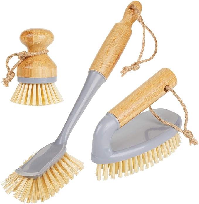 464 opiniones para mDesign Juego de 3 cepillos de bambú para limpieza – Cepillo redondo y escobilla
