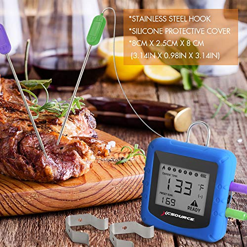 Smart Wireless BBQ Thermometer,Digital Display Instant Read Cooking Grill Meat Thermometer with 2 Upgraded Stainless Steel Dual Probes,App Remote Control and Alert,Suitable for IOS or Android Phone