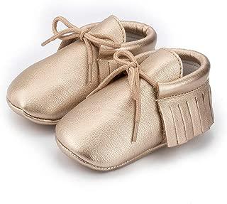Meckior First Walkers - Unisex Baby Boys Girls Moccasins Soft Sole Tassels Prewalker Anti-Slip Loafer Shoes (12-18 Months Toddler, A/Gold)