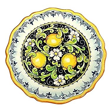 CERAMICHE D'ARTE PARRINI - Italian Ceramic Art Pottery Serving Plate Dish Food Hand Painted Decorated Lemons Made in ITALY Tuscan