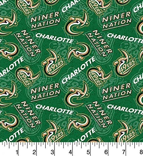 UNC Charlotte UNCC 49'ers Cotton Fabric with Tone on Tone Print-Sold by The Yard