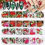 2 Cajas de Lentejuelas Navideñas de Uñas, EBANKU Copos de Nieve Holográficos Muñeco de Nieve árbol de Navidad Lentejuelas Decoración nNavideña para Uñas Mujeres Niñas cara Maquillaje Decoración