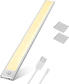TASMOR Luz Armario con Sensor de Movimiento, Luz LED Sensor USB Recargable con 3 Modos, Lámpara Nocturna 76 LEDs Luz Blanca Cálida Ideal para Amario, Garaje, Gabinete, Escalera y Cocina
