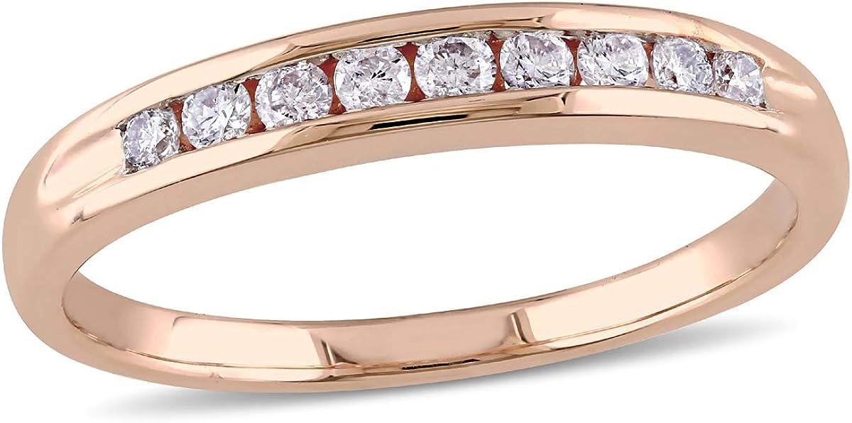 Diamond Anniversary Wedding Band Ring 1/4 Carat (ctw G-H-I, I2-I3) in 10k Rose Pink Gold