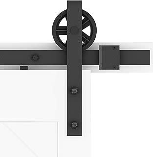 DIYHD TSQ15 6.6FT Big Spoke Wheel Sliding Barn Wood Interior Closet Kitchen Door Track Hardware, 6.6 Feet Single Kit, Black