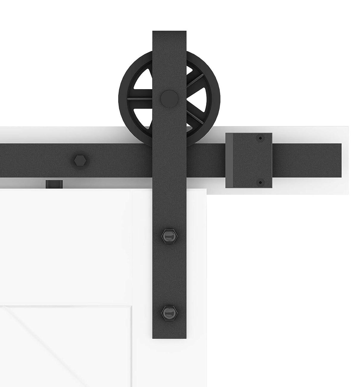 結婚式衝突コース靴下DIYHD 2M納屋のトラックレールスチール黒い車輪ロ-ラ木製ドア吊り引き戸金物