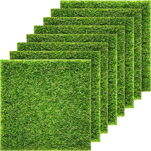 Pangda Artificial Garden Grass, Life-Like Fairy Artificial Grass Lawn 6 x 6 Inches Miniature Ornament Garden Dollhouse DIY Grass (8 Packs)