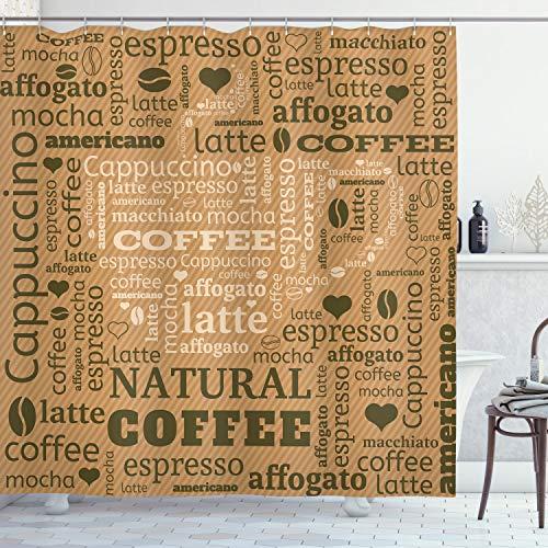 ABAKUHAUS Hellbraun Duschvorhang, Heißes Kaffee-Getränk, mit 12 Ringe Set Wasserdicht Stielvoll Modern Farbfest & Schimmel Resistent, 175x200 cm, Hellbraun