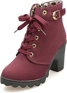 Hunzed Women Shoes Women's high-Heeled Buckle Leather Platform Girl's Boots