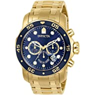 Invicta Men's Pro Diver Collection Chronograph 18k Gold-Plated Watch with Link Bracelet