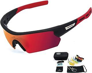 b392c03ef5 TOPTETN Gafas Ciclismo Polarizadas con 5 Lentes Intercambiables Gafas de  Sol Deportivas Antivaho Antireflejo Anti Viento