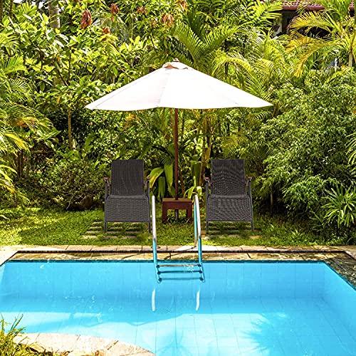 FIXKIT Klappbarer Gartenstuhl aus Rattan, 7-stufige verstellbare Liege, Outdoor-Klappstuhl mit Breiten Armlehnen, Aluminiumrahmen, geeignet für Garten, Terrasse, Strand (braun) - 5