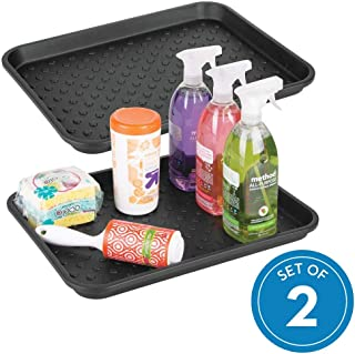iDesign Plastic Under the Sink Drip Protector Tray for Kitchen Cabinet, Bathroom, Entryways, Office, Mudroom, College Dorm, Set of 2, Black