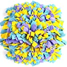 YEAKOO Dog Snuffle Mat, Hand Woven Dog Sniffing Pad Soft Pet Nose Work Smell Snuffle Mat Training Feeding Foraging Skill Blanket Dog Play Mats Puzzle Toys 45cmx45cm (Yellow/Purple/Blue)