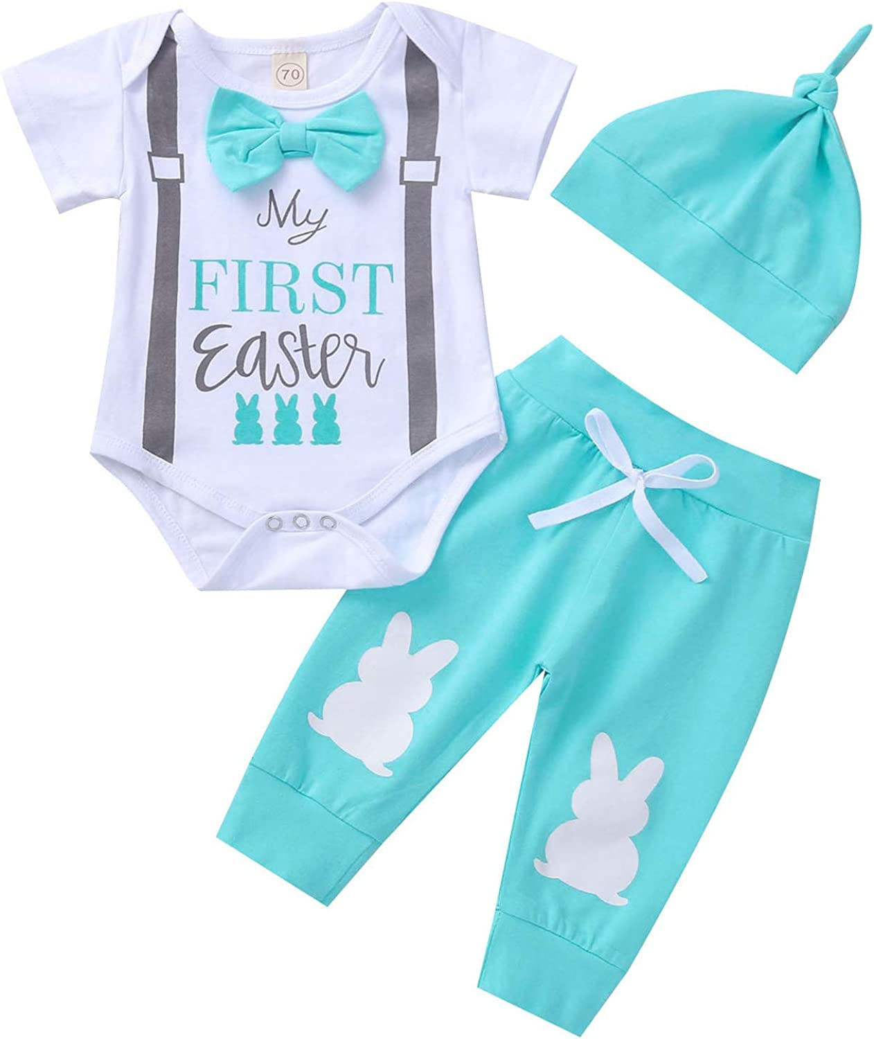 Baby Boy My First Easter Outfits Letter Print Romper+Bunny Pattern Long Pants+Hat 3PCs Clothes Set