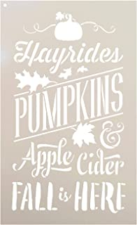 "Fall is Here Stencil by StudioR12 | Hayrides | Pumpkins | Apple Cider | Leaves | DIY Autumn Farmhouse Home Decor | Craft & Paint Rustic Wood Signs | Reusable Mylar Template | Select Size (9"" x 14"")"