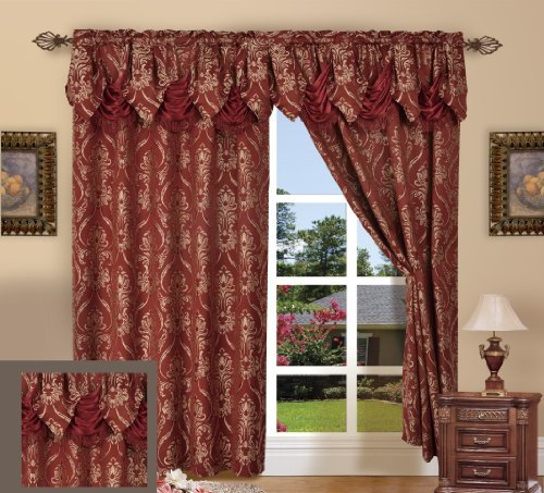 """Elegance Linen Luxury Jacquard Curtain Panel Set with Attached Valance 55"""" X 84 inch (Set of 2), Burgundy"""