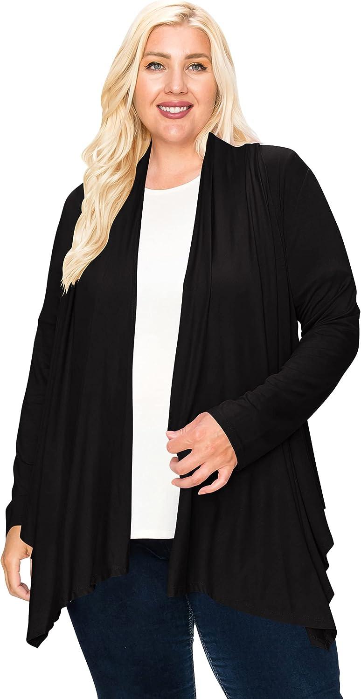 Women's Plus Size Lightweight Long Sleeve Solid Open Cardigan