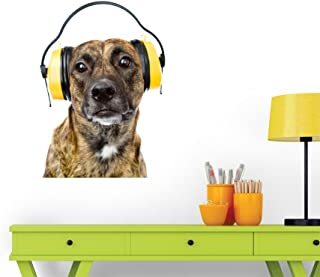 Wallmonkeys Dog with Headphones for Ear Protection from Noise Wall Decal Peel and Stick Graphic WM159940 (18 in W x 18 in H)