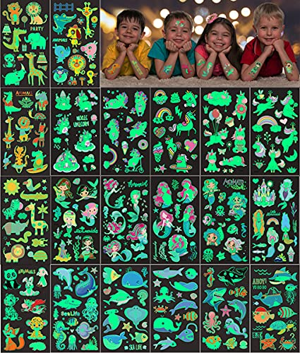 Tattoo Kinder, 20 Blätter Einhorn Ozean Meerjungfrau Tier Temporäre Tattoos Set, im Dunkeln leuchten Kindertattoos, Kinder Aufkleber für Kinder Spielen Kindergeburtstag Mitgebsel Party Festival