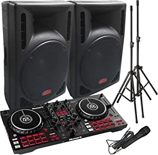 DJ System - Mixtrack Pro FX Controller- Serato DJ Lite Software - 2400 Watts of Powered DJ Speakers w/Stands and Mic