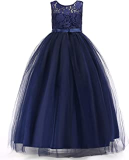 Áo quần dành cho bé gái – Girls Formal Prom Ball Gown Kids Lace Embroidered Wedding Party Tulle Dresses TZ09