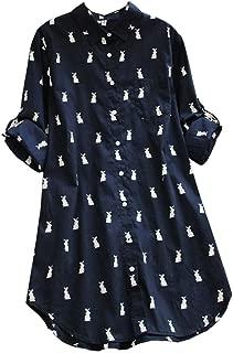 Ashir Aley Animal Print Cute Rabbits Pattern Longline Button Down Casual Tunic Shirt Blouse