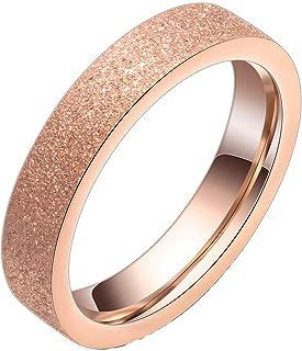 YOUYUZU Fashion Rose Gold Cute Promise Band Rings for Women Girls