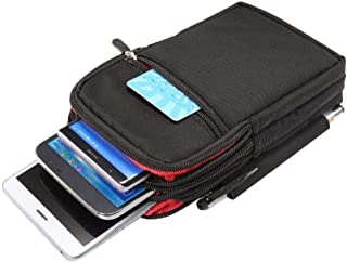 DFV mobile - جراب بأشرطة عمودية متعددة الوظائف 4 حقيبة يغلق بسحاب لـ Infinix Note 8 (2020) - أسود (19x11. 5 سم)