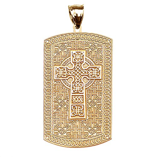 Celtic Cross Trinity Knot 10k Yellow Gold Engraveable Dog Tag Pendant