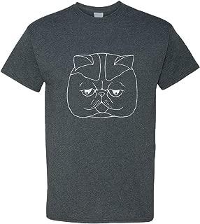 Custom Graphic T Shirts for Men Exotic Shorthair Cat Head Black White Cotton Top