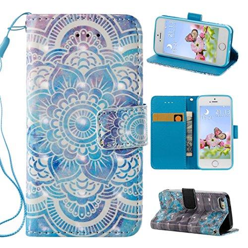 iPhone 5S custodia case, Custodia iPhone 5/se case cover, Rosa Schleife PU color painting magnetico protettivo custodia in pelle cover Shell per Apple iPhone 5/5S/SE - Mandala