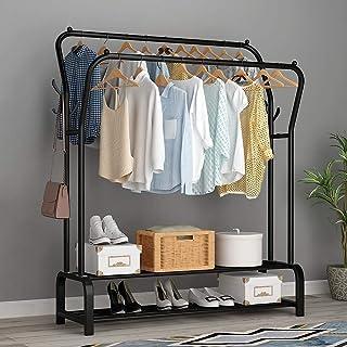 Lukzer Multipurpose Double Garment Rack Heavy Duty Cloth Rail with 2 Bottom Shelf Coat Jacket Hanger Shoe Stand (Black / 1...