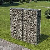 Dioche Gabbione 100 × 20 × 100 cm parete gabbione con copertura parete parete parete in filo metallico zincato galvanizzando