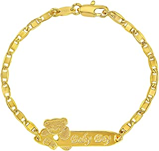 18k Gold Plated Tag ID Identification Bracelet for Baby Boy or Toddler 5.5