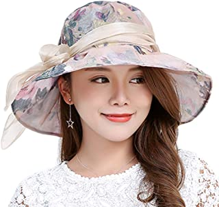 YiyiLai Women Bowknot Wide Brim Foldable Derby Kentucky Church Hat Sun Cap