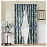 Waverly Moonlit Shadows Rod Pocket Curtains for Living Room, Double Panel, 84' x 100', Lapis