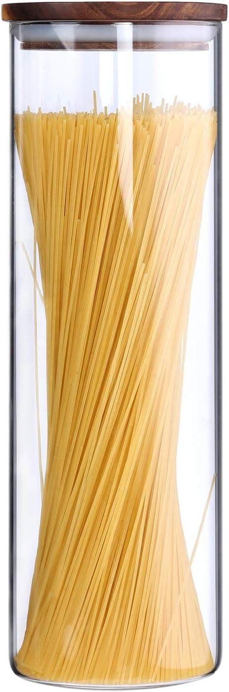 137 opinioni per KKC Contenitore in Vetro con Coperchio di Legno Ermetico per Spaghetti e Pasta,