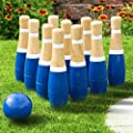 Lawn Bowling Game/Skittle Ball- Indoor and Outdoor Fun for Toddlers, Kids, Adults –10 Wooden Pins, 2 Balls, and Mesh Bag Set by Hey! Play! (8 Inch) from Trademark Global