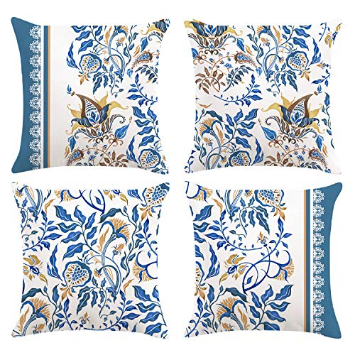 Bonhause Juego de 4 Funda de Cojín 45x45cm Paisley Flor Azul Terciopelo Suave Fundas de Almohada para Cojines Decorativos para Exterior Sofá Cama Coche Hogar
